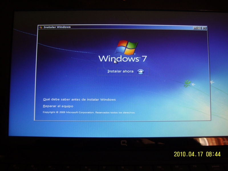 Instalando al noble Windows 7 en equipos viejos